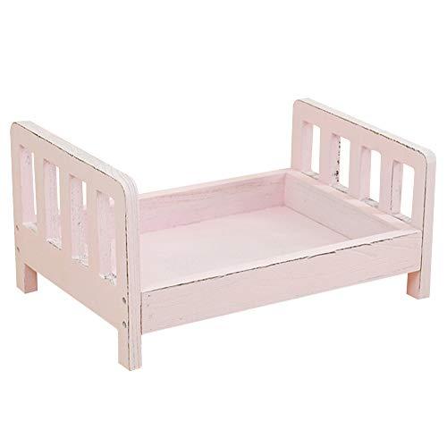 Cama de madera sofá cuna regalo fondo posing estudio accesorios bebé fotografía foto foto foto foto tiro cesto desmontable (blanco) rosa rosa