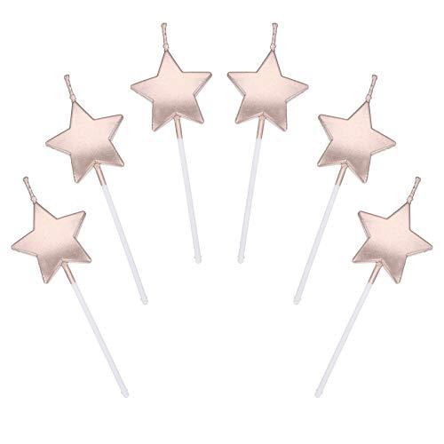 JUHONNZ Candeline Compleanno a Forma Stella,6 PCS Particolari Candele di Compleanno a Forma Stellare per Decorazione della Torta di Feste di Compleanno e Matrimonio,Champagne