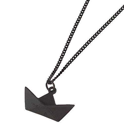 LHXMY Glamour - Collar de Cadena Corta para Mujer, diseño de Barco de Origami, Negro