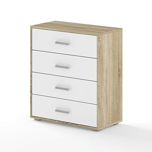 BIM Furniture Dynamic24 Aurora II - Cómoda (70 x 35 x 80 cm, roble Sonoma), color blanco