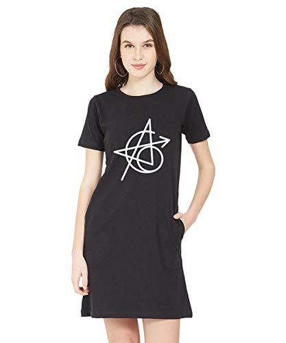 Caseria Women's Cotton Biowash Graphic Printed T-Shirt Dress – Power of Six