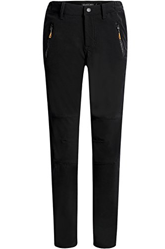 Camii Mia Women's Windproof Waterproof Sportswear Outdoor Hiking Fleece Pants (32W x 30L, Black)