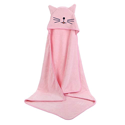 Srfghjs Gorros de Ducha Toalla de Toalla con Capucha Poncho Velvet Fleece Hood Toalels Manta Infantil SPA 90 * 90 cm (Color : Pink)