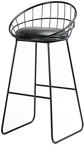 Wddwarmhome Sillas de Contador de Cuero de imitación Negras, Silla Moderna de Altura de Contador Industrial para sillas de Comedor Interior/al Aire Libre [Altura del Asiento 75 cm]