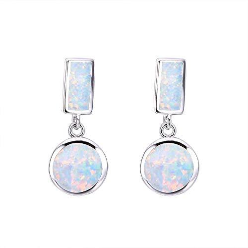 HANYF S925 Silber Rechteckigen Weißen Opal + Weiß Opal Ohrringe Kreis, Zarte Ohrringe/Geschenk,Weiß