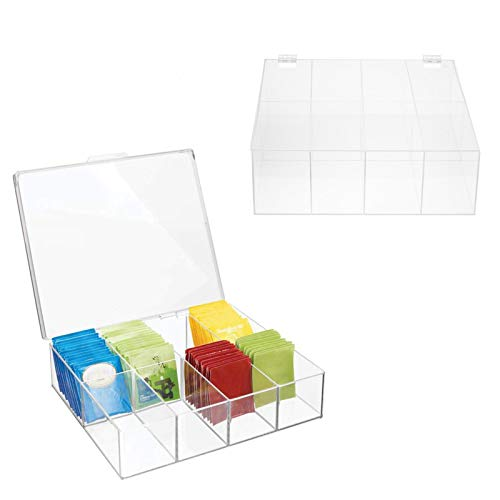 Xinying Almacenamiento de Bolsas de té, Colecciones de té de Caja de 8 Compartimentos con Tapa Superior Transparente para gabinetes de Cocina, cápsulas, Paquetes, condimentos - Verde Menta/Practical