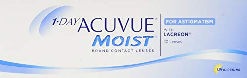 Acuvue 1-Day Moist For Astigmatism Tageslinsen weich, 30 Stück / BC 8.5 mm / DIA 14.5 mm / CYL -2.25 / ACHSE 110 / -0.5 Dioptrien