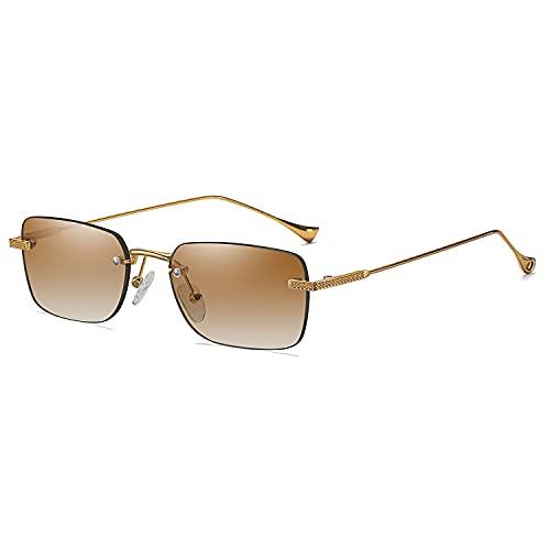 Gafas de sol retro sin montura para hombres Mujeres ultra-delgadas Gafas de sol rectangulares Protección UV Gafas de sol
