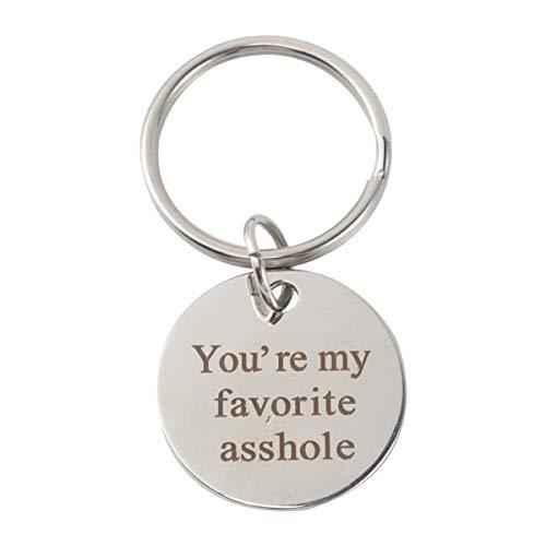 LIOOBO Tu es mon préféré Porte-clés en acier inoxydable Porte-clés en acier inoxydable Cadeaux drôles pour la Saint-Valentin pour petit ami ou mari