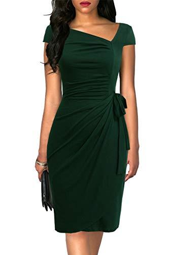 Liyinxi Elegant Women's Cap Sleeves Tummy Control Sheath Bodycon Bridal Shower Party Summer Pleated Green Wrap Dress (L, 8022-Green)