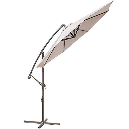 JIEH 10ft Sonnenschirm mit Stahlmast Kurbelmechanismus Ampelschirm Gartenschirm Marktschirm Balkonschirm Terrassenschirm Schirm(Beige)