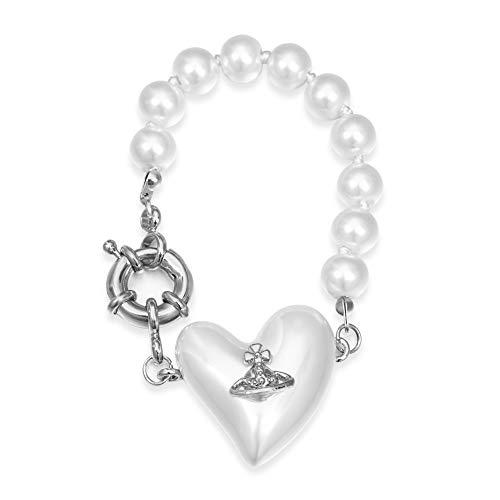 Mujer Accesorios Pulsera Colgante Fiesta Regalo Saturno Planeta Corazón Perla Joyería Collar Pendiente (Pulsera, Plata)