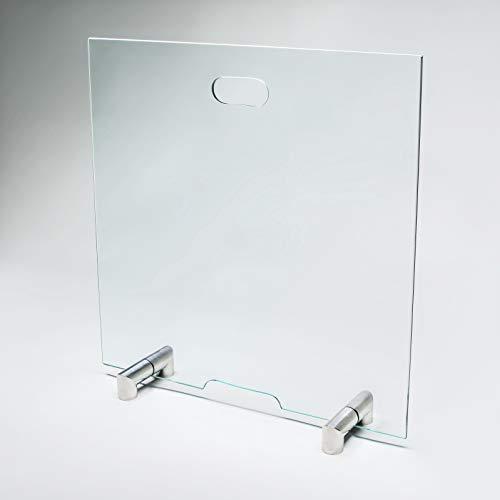 bijon® Funkenschutz Kamin aus Spezial-Sicherheitsglas | Design Hitzeschutz Kamin Funkenschutz Glas Funkenschutzgitter | M2 | HxB 600x500mm