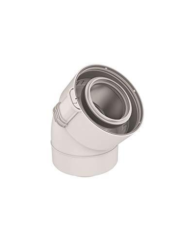 UBBINK-Coude 45 Sekurit 60 100 PPTL PVC condensation gaz fioul blanc Réf 229200
