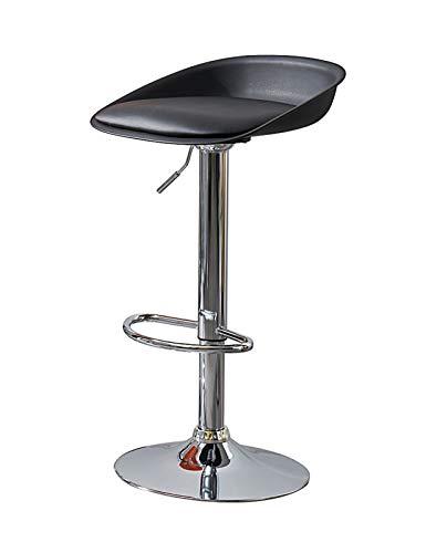 LHDQ Taburetes de Bar Ajustables, sillas de Bar giratorias Negras de Cuero PU, Altura del mostrador, taburetes de Comedor para Desayuno para Isla de Cocina, 60-83cm