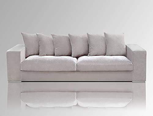 Amaris Elements | Sofa 'Monroe' inklusive 6 Kissen, Samt Couch Stoff grau Sitzgarnitur Wohnlandschaft Loungesofa 4 Sitzer Samtsofa