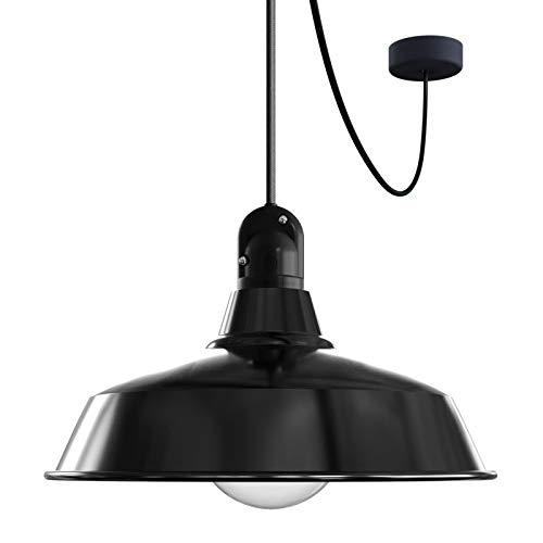 creative cables EIVA Outdoor-Pendelleuchte mit Lampenschirm, 5 m Textilkabel, Deckenbefestigung, Silikon-Lampenbaldachin und Lampenfassung, IP65 - Ohne Glühbirne, Schwarz