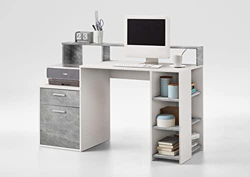 AVANTI TRENDSTORE - Boldino - Scrivania in legno laminato, disponibile in 2 diverse colorazioni. Dimensioni LAP 140x75x60 cm (cemento/bianco)