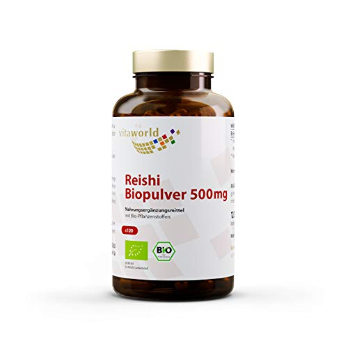 Vita World Reishi Pulver Bio Qualität 500mg 120 Kapseln Apotheken Herstellung ganoderma lucidum ling zhi