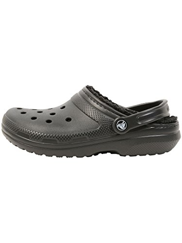 Crocs Men's and Women's Classic Lined Clog | Fuzzy Slippers, Black/Black, 11 Women / 9 Men
