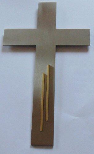 Wandkreuz Edelstahl mit Messingverzierung 25 cm