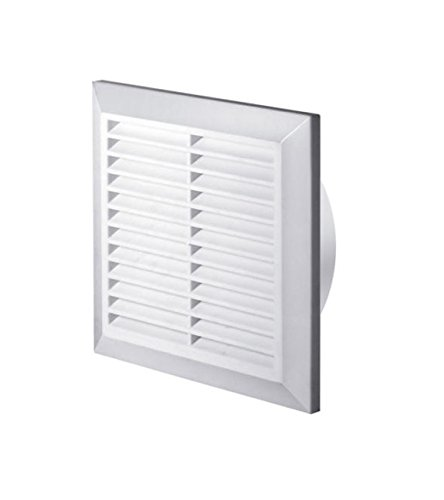 White Air Vent Grille 100mm / 4' with Fly Screen and Round Duct Pipe Connection / Collar Ducting Ventilation Cover T61