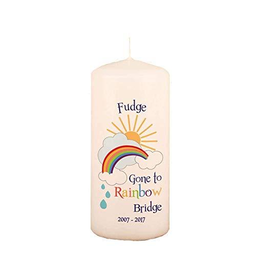 Rainbow Bridge Personalised Pet Memorial Candle. Sympathy Gift for Loss of Pet