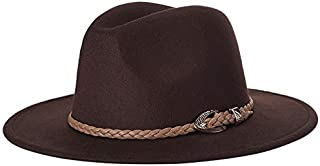 SHENLIJUAN New European and American Version of Woolen Jazz hat Fashion hat hat (Color : Coffee, Size : 57cm)