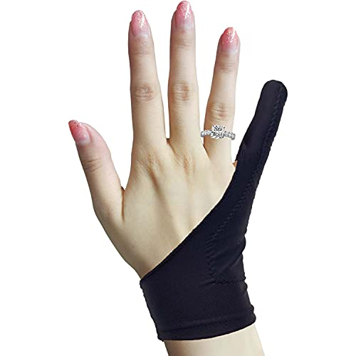 Timebetter Artist Drawing Glove, Digital Art Glove for Tablet iPad, 1 Finger, Palm Rejection, Fit Left Right Hand - S, Pack of 2