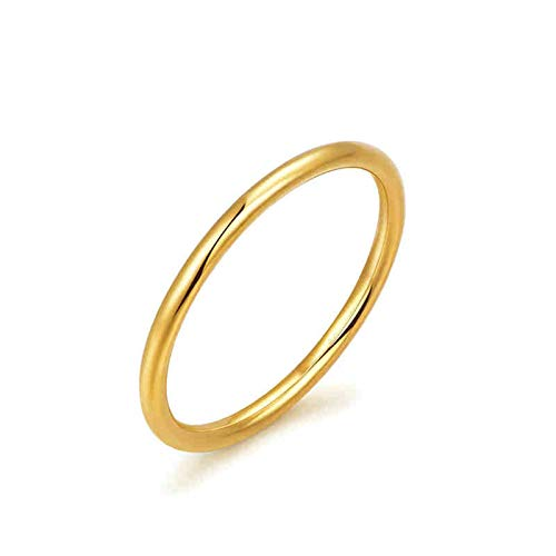 Aeici 18K Ring Gold Wedding Ring for Women High Polished Design Wedding Anniversary Rings Gold Ring Size U 1/2