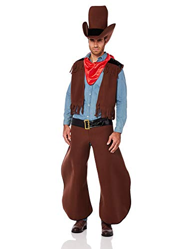 Men's Old Cowhand Costume, Brown/Red, One Size