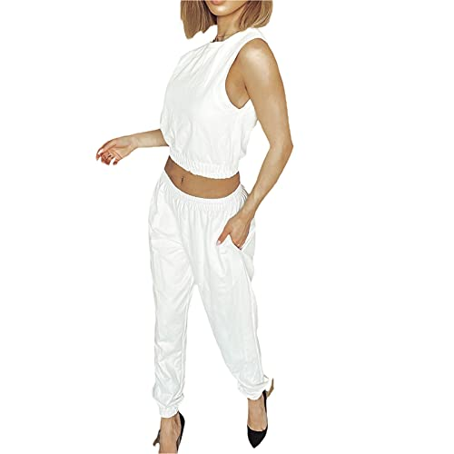 Loalirando Conjunto de 2 piezas para mujer y niña, elegante camiseta sin mangas + pantalones cortos de cintura alta, para yoga, carreras, casual, fitness Color blanco. L