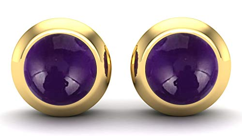 Gemshiner Purple Amethyst Round Stud Earrings with 925 Sterling Silver with 14CT Yellow Gold Plated for Women and Girls