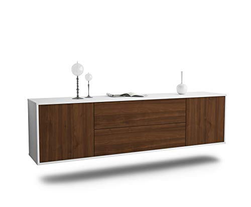 Dekati Lowboard Cincinnati hängend (180x49x35cm) Korpus Weiss matt | Front Holz-Design Walnuss | Push-to-Open