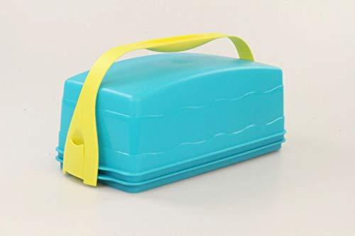 Tupperware Junge Welle Kastenkuchenbehälter türkis Kuchen + Tragegriff gelb