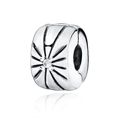 Pandora 925 plata esterlina colgante DIY real plata color granos resplandecientes Sunburst Clip encanto ajuste original pulseras Pandora joyería femenina