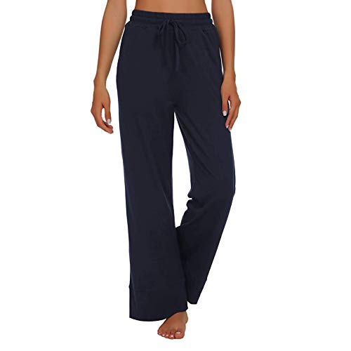 MUYOGRT Pantalones de chándal para mujer, de cintura alta, para yoga, con cintura ancha A-azul marino. L