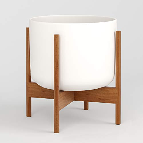 Fox & Fern Mid-Century Modern Plant Stand - Tabletop - Including Ceramic Pot (Including White Ceramic Pot, Wide)