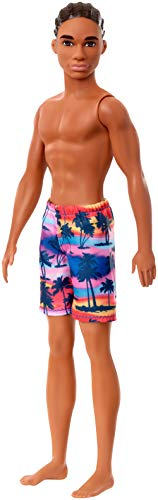 Mattel Barbie - Ken Beach Dark Skin Doll with Swim Pants