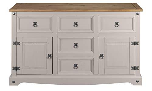 Corona Grey 2 Door 5 Drawer Sideboard, Mexican Pine