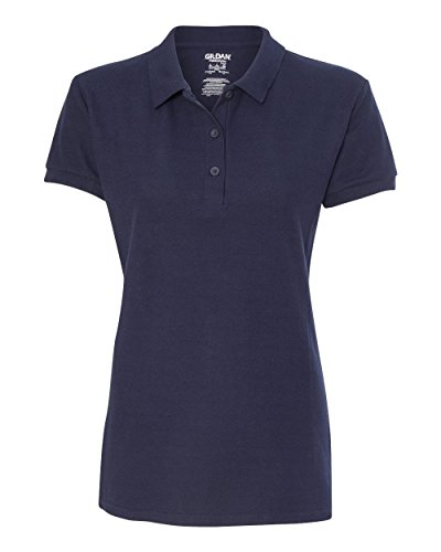 Gildan - Ladies Premium Cotton Double Pique Polo Shirt - 82800L-Navy-L