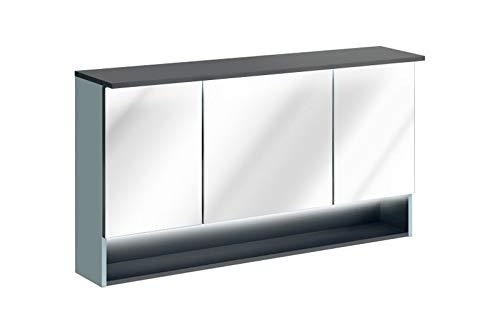 Jadella spiegelkast 'Rio II Mint' 120cm eiken wit wit met verlichting