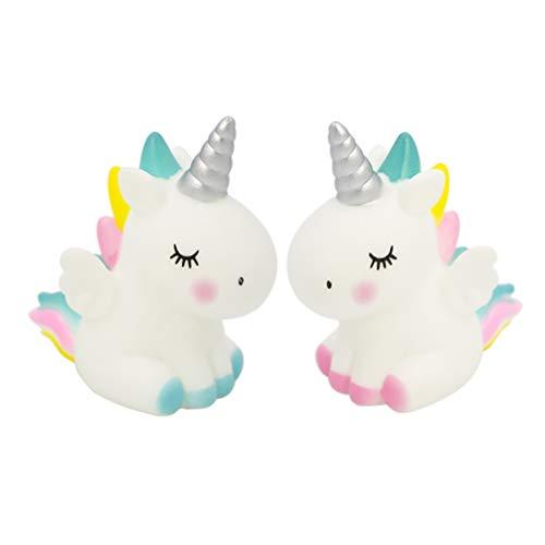 Amosfun - Lote de 2 figuras de unicornio para decoración de tarta de unicornio, decoración de animales, bodas, cumpleaños, novia y novia.