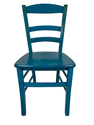 Sedia Berlino, in Legno Massello, Vari Colori e Sedute Disponibili, Alta qualità, Paesana Venezia Ordine Minimo 2 Pezzi (Azzurra, Massello)