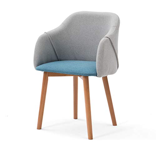 LJZslhei Stuhl Massivholz Stuhl Studie Schreibtisch Stuhl Dressing Stuhl Rückenlehne Einfache Moderne Esszimmerstuhl Grau und Blau (Color : Wood Color)