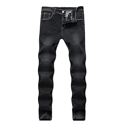 ShFhhwrl Jeans Mens Jeans Pure Color Men Casual Black JeansSlim Straight Elasticity Overalls Pants Male Skinny Jeans Men 34 Black