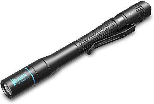 WUBEN Mini Linterna bolígrafo LED, 200Lúmenes estilo boli con enganche para bolsillo, con 2 pilas AA, 5 años de garantia
