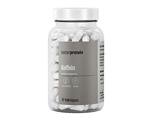 Koffein Kapseln - hochdosiert 200 mg - 120 Kapseln - laborgeprüfte Qualität direkt vom Hersteller aus Deutschland - vegan - BetterProtein®