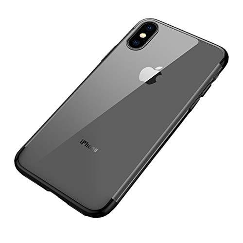 Misstars Coque en Silicone Placage pour iPhone XR, Ultra Mince Transparente Souple TPU Gel Housse Étui de Protection Anti-Rayures Exact Fit pour Apple iPhone XR (6,1 Pouces), Noir