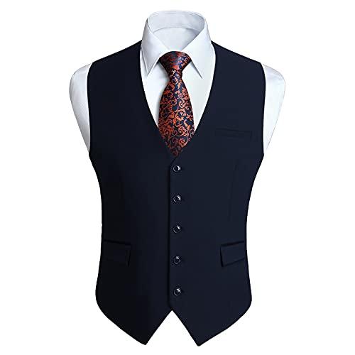 HISDERN Navy Blau Anzugwesten für Herren Hochzeit Weste Anzugweste formal Businessweste Casual Westen Smoking Vest